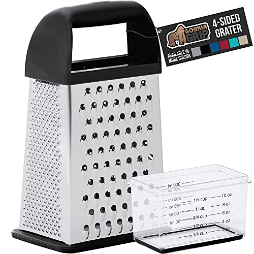 Gorilla Grip Box Grater, Stainless Steel, 4-Sided Graters with Comfortable Handle and Storage Container for Cheese, Vegetables, Ginger, Handheld Food Shredder, Kitchen Zester, 10 inch, Black