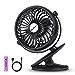 SkyGenius Battery Operated Clip on Mini Desk Fan, Black (Renewed)