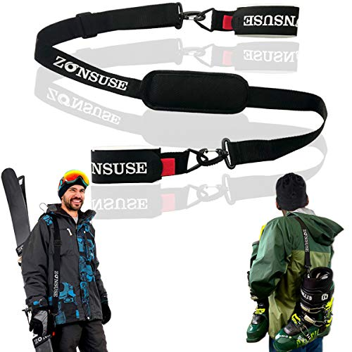 ZONSUSE Sci Tracolla, Regolabile Portatile Cinghie da Ski, Tracolla portasci per Il Trasporto di Sci e Scarponi, con moschettone e Supporto ammortizzato, Attrezzatura da Sci da Discesa