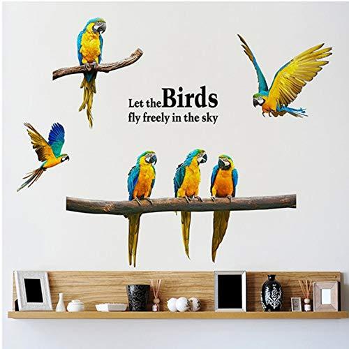Cmhai Flying Macaw Muursticker Woonkamer Slaapkamer Tak Pratende Vogel Verwijderbare Zelfklevende Behang Home Studie Muurschildering Op De Muur Grootte 45 * 60Cm