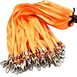 Orange Bulk Lanyards for Id Badges, Nylon Neck Flat Lanyard Swivel Hooks clips, Durably Woven lanyards with clip for Key Chains Men Women Office ID Name Tags and Badge Holders, lanyards 50Pack 32-inch