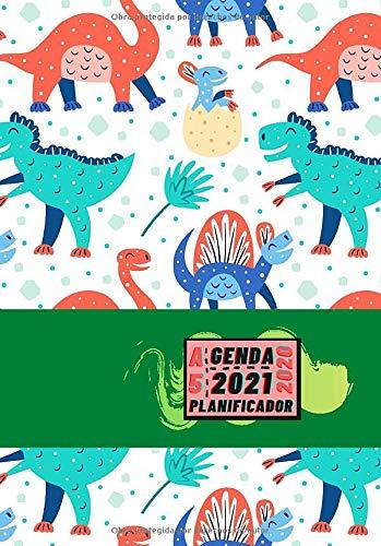 Agenda 2020 2021 Planificador A5: Diseño de Portada Dinosaurios niños - Bonitas Agendas semana vista DIN A5- Pequeña y de bolsillo con calendario de ... eventos y fechas en páginas para tu día a día