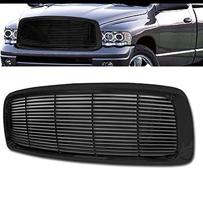 VXMOTOR for 2002-2005 Dodge Ram - Black Horizontal Billet Front Hood Bumper Grill Grille Cover ABS