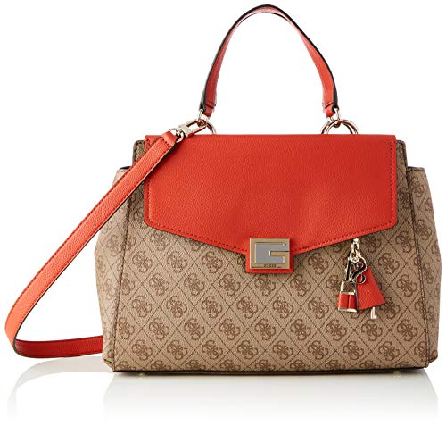 Guess VALY Large Girlfriend Satchel, Bags Crossbody Donna, Rust, One Size