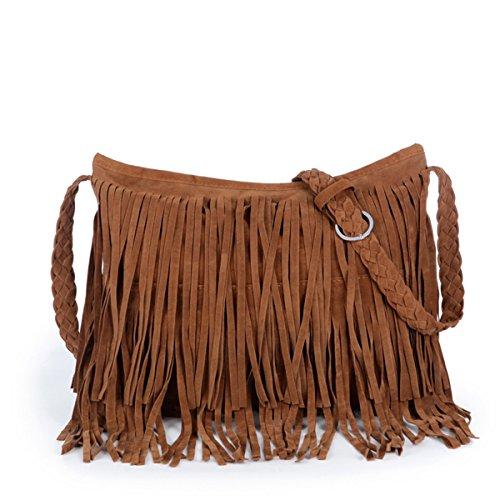 Heyjewels Damen Tasche Schultertasche Umhängetasche mit Fransen Kunstwildleder 34x29x11cm (B x H x T) (Braun)