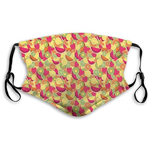 Gesichtsmasken Tropische Natur Früchte mit Orange Wassermelone und Erdbeeren Buntes veganes Essen Sturmhaube Mund Bandanas mit 2 Filtern