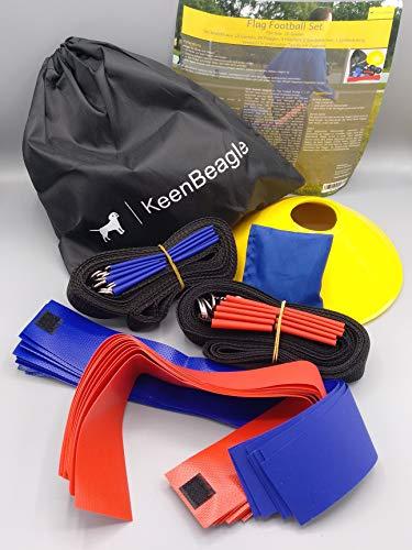 KeenBeagle® Flag Football Set: Gürtel und Flaggen für 10 Spieler | 10 Gürtel und 20 Flaggen | Fangspiel Set | inkl. Anleitung und Markierungshütchen