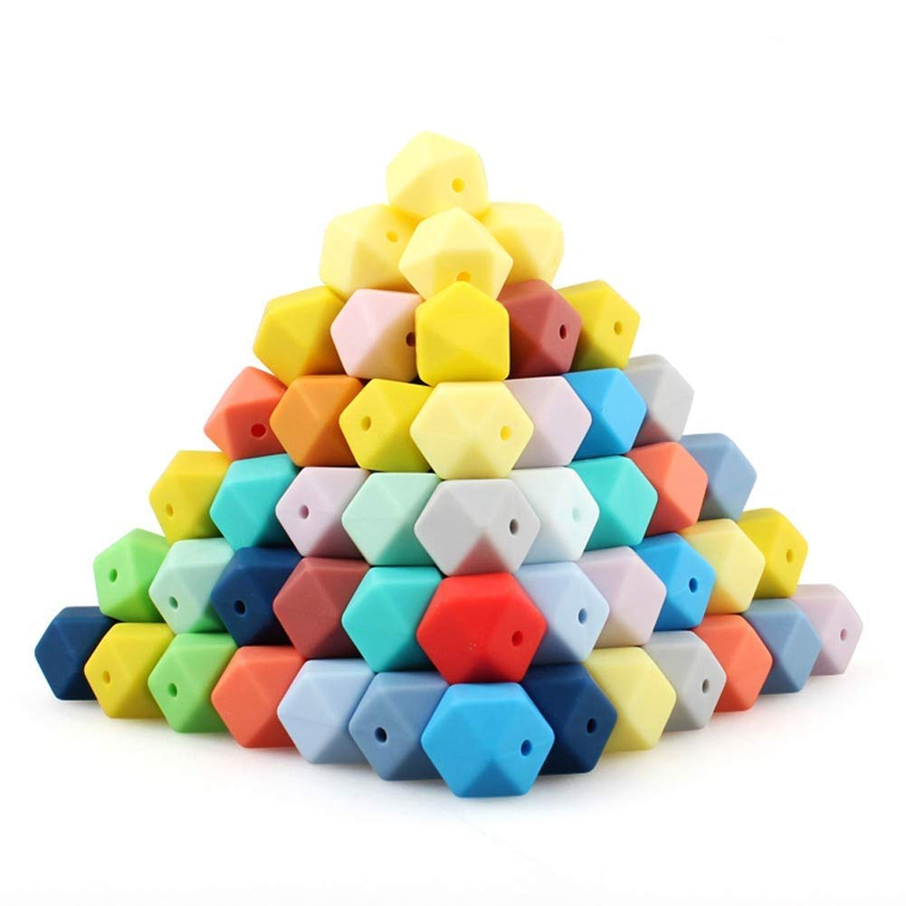 60Pcs 17mm Mix Colors We OFFer at cheap prices Hexagon Silicone favorite DIY 62 Beads B for