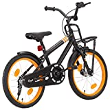 Festnight Bicicleta Niños y Portaequipajes Delantero 18 Pulgadas Bicicletas niños Deportiva para Niños y Niñas a 5-7 Años Negro y Naranja
