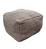 Riarevt Unstuffed Pouf, Ottoman Footstool Foot Rest, Square Pouf Ottoman Boho, Soft Knitted Cotton Linen Pouf, Poufs for Living Room Bedroom (Brown, 16.5'x16.5'x12.9')