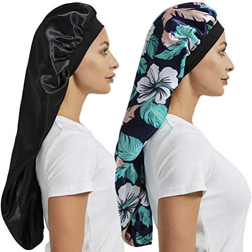 2 Pcs Hair Bonnets for Women Satin, Soft Elastic Band Silky Sleeping Cap Big Bonnets for Women Bonnet for Braids