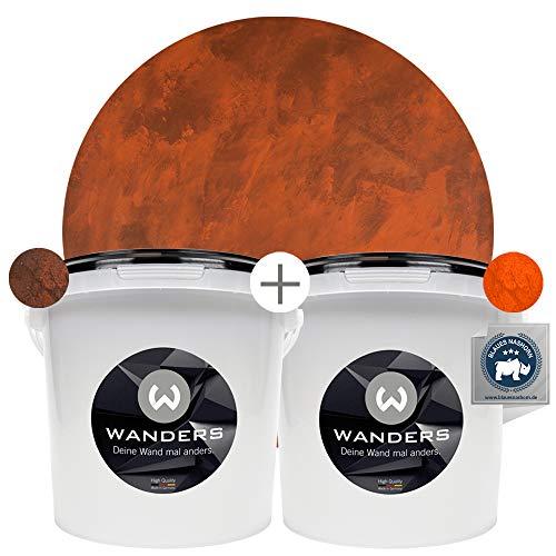 Wanders24 Rost-Optik (6 Liter Komplettset) Wandfarben für Rost-Effekt, individuelle Gestaltung für Zuhause, Farbe Made in Germany