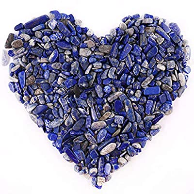 Hilitchi Quartz Stones Tumbled Chips Stone Crushed Crystal Natural Rocks Healing Home Indoor Decorative Gravel Feng Shui Healing Stones (About 1lb(450g)/Bag) (Lapis Lazuli)
