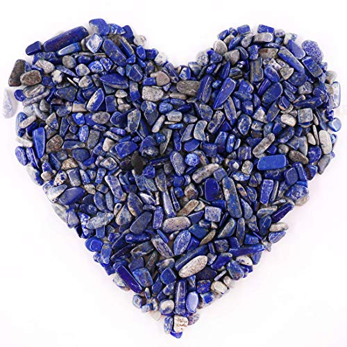 Hilitchi Quartz Stones Tumbled Chips Stone Crushed Crystal Natural Rocks Healing Home Indoor Decorative Gravel Feng Shui Healing Stones (About 1lb(450g)/Bag) (Lapis Lazuli)