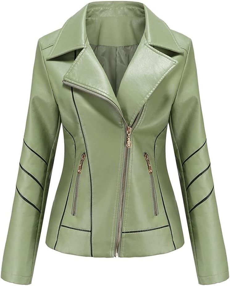 CDQYA Autumn Faux Leather Jacket Women Oversized Boyfriend Style Women's Leather Jacket Motor Biker Coat Street Outwear (Color : Green, Size : 2XL Code)