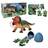 Monoclonius Dinosaur Toy Sets, Realistic Roaring Jumbo Dinosaur & Dinosaur Puzzle & Dinosaur Egg 3 in 1 Toddler Toys Set for Kids Boys and Girls Age 3 and up Play, Education, Birthday