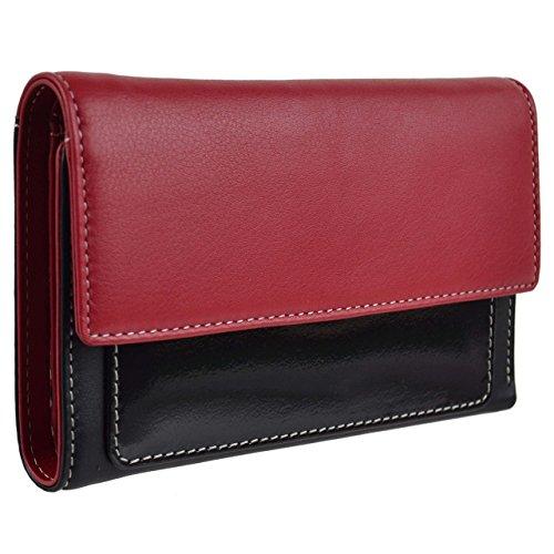 Ladies Leather Mid Size Purse/Wallet by Golunski Graffiti Gift Box Patent (Red/Black)