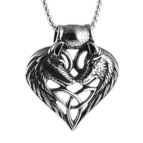 AsAlways Men's Punk Celtic Love Couple Wolf Heart Amulet Pendant Necklace Chain Jewelry 22+2'