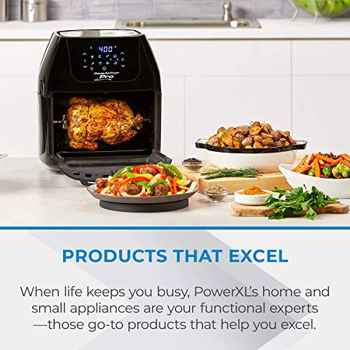 PowerXL Air Fryer Pro, Crisp, Cook, Rotisserie, Dehydrate; 7-in-1 Cooking Features; Deluxe Air Frying Accessories; 3 Recipe Books (6 Qt, Black)