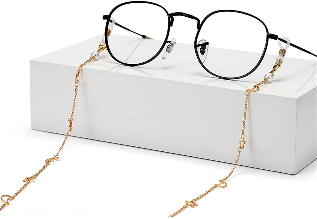 JJWC Sunglasses Chains Hollow Star Moon Copper Plating Chain Women Lanyard Glasses Accessories Hold Straps Cords (Color : A, Size : Length-70CM)
