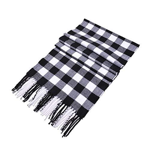 MINMINA Herrenmode Schal Herbst und Winter Mode Schal Wilde Karo Schal Nachahmung Kaschmir warmen Schal, 190 * 35cm, schwarz und weiß