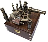 Brass Nautical Sextant J Scott London Vintage Antique Astrolabe ship navigation instrument Celestial & Nautical Sextant with Two Extra Sighting Telescope/Astrolable Sextant Tool with Wooden Box Case