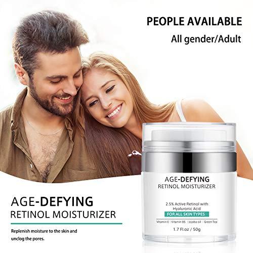513v+fnx3ZL - Retinol Cream for Face Anti-Aging, Face Moisturizer Cream with Retinol, Jojoba Oil, Hyaluronic Acid, Wrinkle Cream for Women Men, Neck & Décolleté Dark Spot Remover, Best Day and Night Cream, 1.7 Ounces