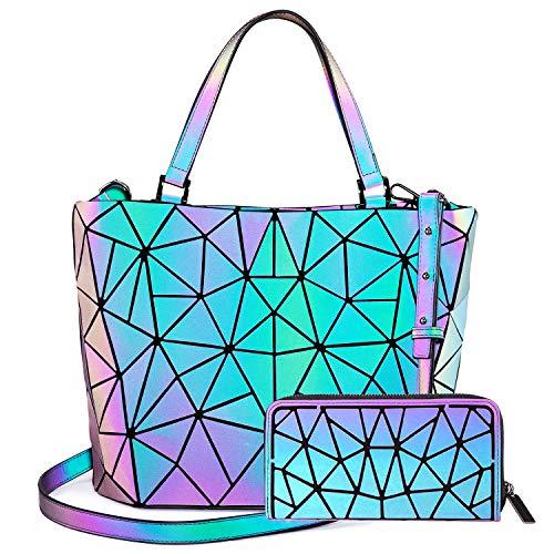 LOVEVOOK Geometrische Handtasche Geldbörse Set für Damen, Leuchtende Henkeltasche Schultertasche Holographic Damentaschen Purse Geldbeutel, PU Leder
