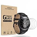 (4-Pack) Tempered Glass Screen Protector for Gear S2 / Samsung Galaxy Watch (42 mm), AKWOX [0.3mm 2.5D High Definition 9H] Clear Screen Protector for Samsung Gear S2 Frontier/Classic/Gear Sport