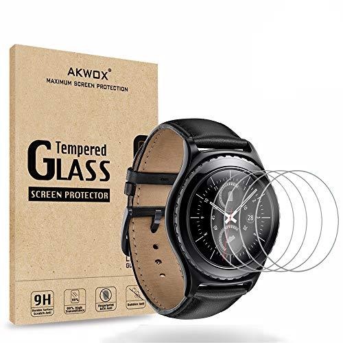 AKWOX [4 Stück] Schutzfolie aus Panzerglas für Samsung Gear S2 Classic & Gear Sport, 0.33mm 9H Festigkeit Kratzfest Panzerglasfolie für Samsung Gear S2 (39.9MM) Bildschirmschutzfolie
