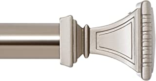 Ivilon Treatment Window Curtain Rod - Carved Square Finials, 1 1/8 in Rod, 28 to 48 in. Satin Nickel