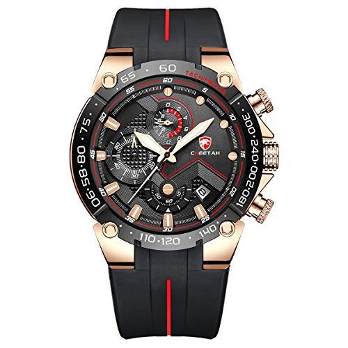 Herrenuhren Sport wasserdichte Chronographenuhr mit Silikonarmband, Datum, leuchtender Quarzarmbanduhr (Roségold schwarz)