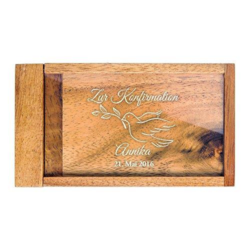 Casa Vivente Magische Geldgeschenkbox mit Gravur – Zur Konfirmation – Personalisiert mit Namen und Datum – Knobelspiel – Verpackung für Geldgeschenke oder Gutscheine – Geschenkidee für Konfirmanden