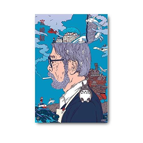 Arts Peintures Posters Stickers muraux Tableaux.Peinture sur toile moderne Hayao Miyazaki Anime photo décoration murale impression décor à la maison salon chambre décor Cuadros affiche (50X70)CM