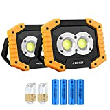 2Pack Rechargeable COB Work Light, Portable 30W 1500Lm Floodlight Waterproof Outdoor Work Lamp with 3 Modes for Camping Car Repairing Hiking