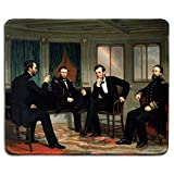 dealzEpic - Art Mousepad - Natural Rubber Mouse Pad with Famous Fine Art Painting of The Peacemakers by George Peter Alexander Healy - Stitched Edges - 9.5x7.9 inches
