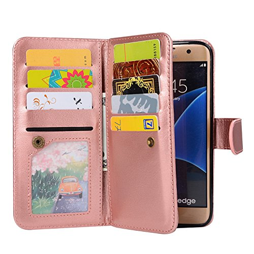 Galaxy S7 Wallet Case, SUPZY Leather Detachable Magnetic Flip 9 Card Slots Holder Wrist Strap Purse Removable Slim Protective Cover for Samsung Galaxy S7 (Rose Gold)