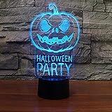 Lámpara de mesa con linterna de calabaza de Halloween de solo 1 pieza para dormitorio habitación para niños luz nocturna 3D lámpara de escritorio Led para mesa