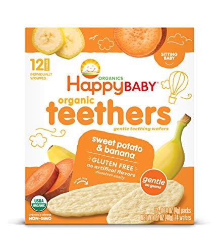 Happy Baby Gentle Teethers Organic Teething Wafers Banana Sweet Potato, 12 Count...