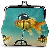 Divertido pez Bicicleta Bicicleta Cuero Monedero Besos Cerradura Cambio Bolsa Vintage Cierre Cierre Hebilla Billetera