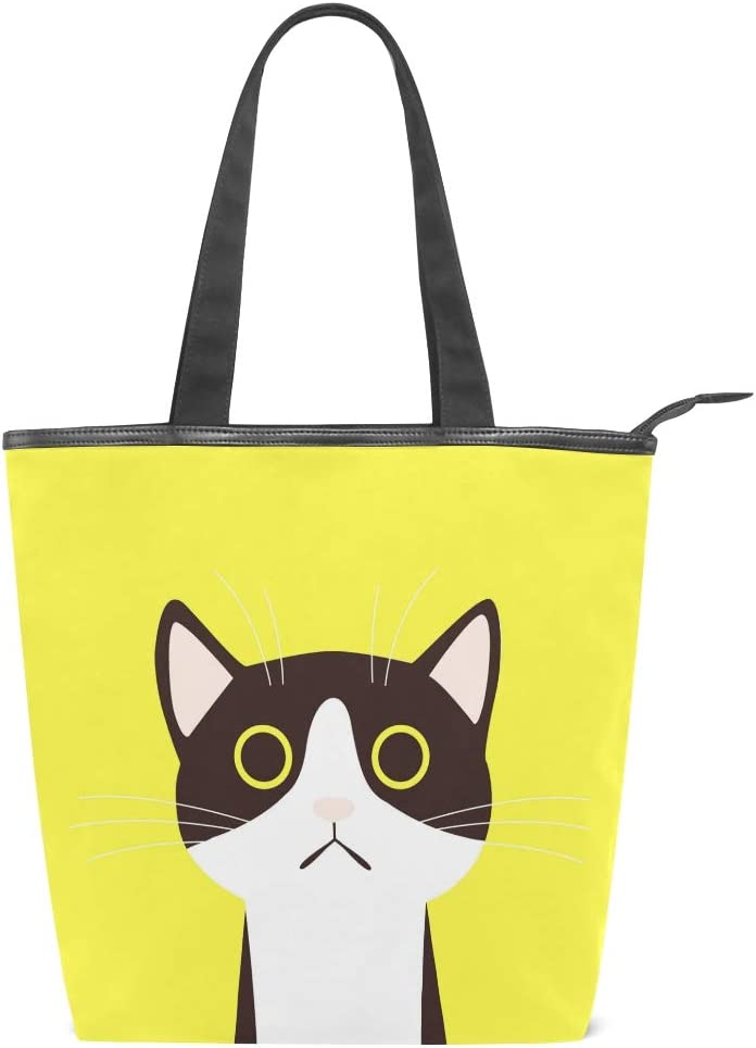 Vdsrup Cat Face Yellow Kitty Tote bag Handbag Lightweight Casual Canvas Shopping Grocery Bags Handle Shoulder Bag for Women Girls Travel School