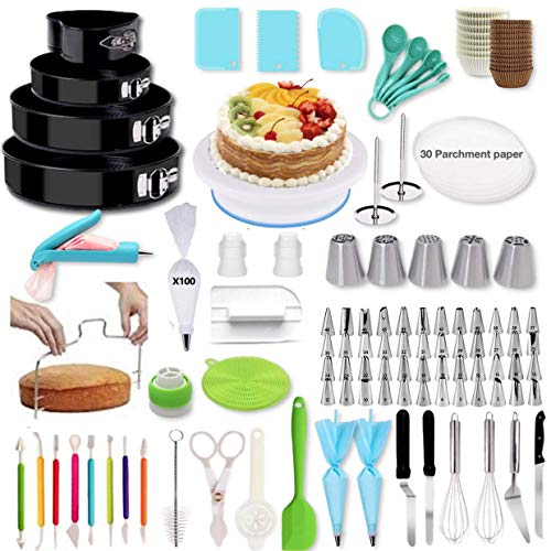 Shpebs 345 Piece Baking Set Cake Decorating Kit with Springform Cake Pans Set, Cake Rotating Turntable, Icing Tips & Icing Bags, and Tools Cake Decorating Supplies