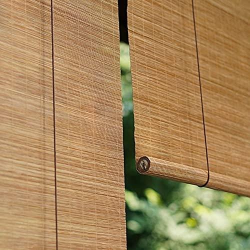 H.ZHOU Cortina de bambú Natural persiana de Madera for Patio/toldo/Ventana de la Tapa, Externa bambú Parasol Persianas con polea y Tire de la Cuerda, el 60% del apagón Parasol G5105