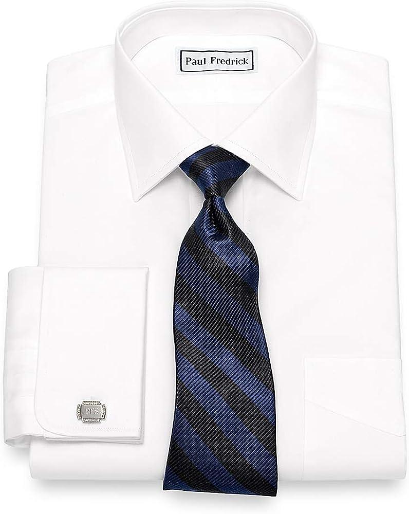 Paul Fredrick Men's Slim Fit Egyptian Cotton Solid Spread Collar Dress Shirt