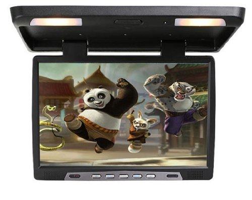 48,3 cm 19 Zoll Inch TFT LCD Video Deckenmonitor Flipdown Monitor für Bus und Auto Wohnmobil PKW KFZ mit zwei Videoeingängen 12V schwarz YMPA LCM-FD19