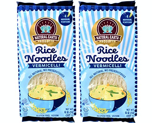 Fine Rice Noodles, Vermicelli, All Natural, No Preservatives, Vegan and Gluten-Free, Certified Kosher, 8.8oz Container (2-Pack)