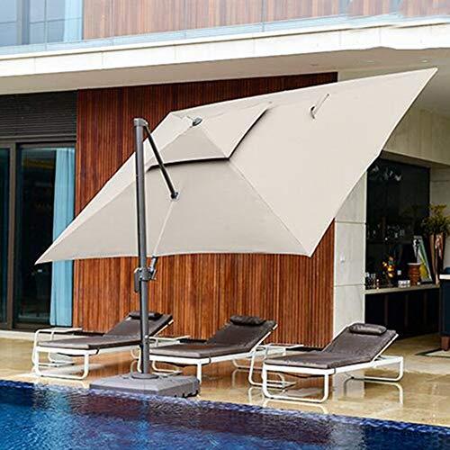 AIMCAE Sombrilla Rectangular en voladizo de 4x3 m, sombrilla de Patio con Base Cruzada, sombrilla giratoria de 360 °, sombrilla de Playa de 2 Niveles, sombrilla de jardín para Piscina Exterior