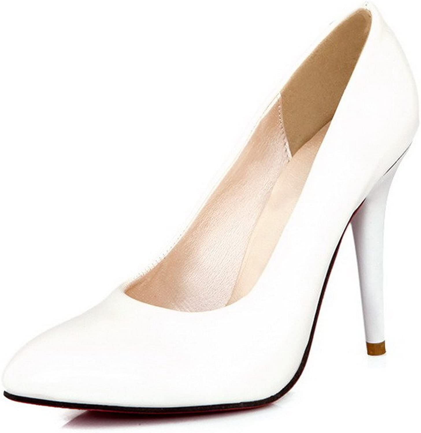 WeiPoot Women's Patent Leather Pointed Closed Toe Spikes-Stilettos Pumps-shoes, White, 34