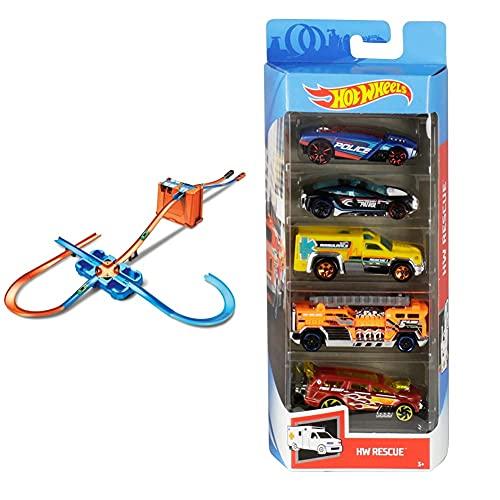 Hot Wheels Track Builder Mega Stunt Box & 01806 5er Pack 1:64 Die-Cast Fahrzeuge Geschenkset, je 5 Spielzeugautos, zufällige Auswahl, ab 3 Jahren