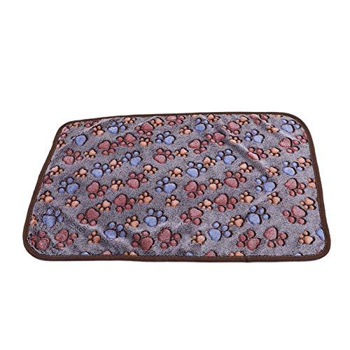 ASDFGT-778 1 STÜCKE Coral Samt Paw Print Decke Katze und Hund Matratze Winterdecke Warme und weiche Matratze Haushaltshaustierbedarf (Color : Dark Brown, Size : 60X40cm)